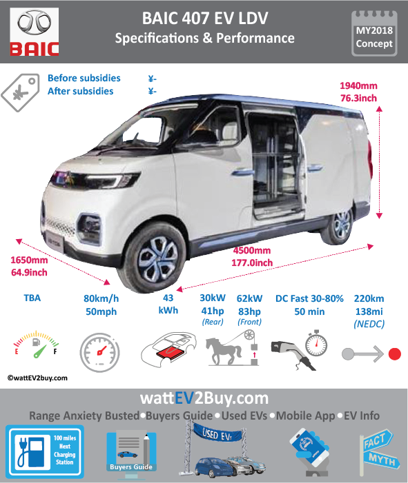 "BAIC 407 LDV EV Specs wattev2Buy.com 2018 Battery Chemistry Ternary Battery Capacity kWh 43.5 Battery Nominal rating kWh Voltage V Amps Ah Cells Modules Efficiency Weight (kg) Cell Type SOC Cooling Cycles Battery Type Depth of Discharge (DOD) Energy Density Wh/kg Battery Manufacturer Battery Warranty - years Battery Warranty - km Battery Warranty - miles Battery Electric Range - at constant 38mph Battery Electric Range - at constant 60km/h Battery Electric Range - at constant 25mph Battery Electric Range - at constant 40km/h Battery Electric Range - JC08 Mi Battery Electric Range - JC08 km Battery Electric Range - WLTP Mi Battery Electric Range - WLTP km Battery Electric Range - NEDC Mi 137.5 Battery Electric Range - NEDC km 220 Battery Electric Range - CCM Mi Battery Electric Range - CCM km Battery Electric Range - EPA Mi Battery Electric Range - EPA km Electric Top Speed - mph 50 Electric Top Speed - km/h 80 Acceleration 0 - 100km/h sec Acceleration 0 - 50km/h sec Acceleration 0 - 125km/h sec Acceleration 0 - 125mph sec Acceleration 0 - 188mph sec Acceleration 0 - 62mph sec Acceleration 0 - 60mph sec Acceleration 0 - 37.2mph sec Braking 100-0km/h (m) Wireless Charging Direct Current Fast Charge kW Charger Efficiency Onboard Charger kW Onboard Charger Optional kW Charging Cord - amps Charging Cord - volts LV 1 Charge kW LV 1 Charge Time (Hours) LV 2 Charge kW LV 2 Charge Time (Hours) 8 LV 3 CCS/Combo kW LV 3 Charge Time (min to 70%) LV 3 Charge Time (min to 80%) 50 LV 3 Charge Time (mi) LV 3 Charge Time (km) Battery Swap (min) Supercharger Charging System kW Charger Output Charge Type Charge Connector Braking Power Outlet kW Power Outlet Amps MPGe Combined - miles MPGe Combined - km MPGe City - miles MPGe City - km MPGe Highway - miles MPGe Highway - km Max Power - hp (Electric Max) Max Power - kW (Electric Max) Max Torque - lb.ft (Electric Max) Max Torque - N.m (Electric Max) Drivetrain Generator Motor Type Electric Motor Manufacturer Electric Motor Output kW Electric Motor Output hp Transmission Electric Motor - Rear 1 Max Power - hp (Rear) 40.2306 Max Power - kW (Rear) 30 Max Torque - lb.ft (Rear) Max Torque - N.m (Rear) 105 Electric Motor - Front 1 Max Power - hp (Front) 83.14324 Max Power - kW (Front) 62 Max Torque - lb.ft (Front) Max Torque - N.m (Front) 220 Energy Consumption kWh/100km Energy Consumption kWh/100miles ""EU g CO2/km "" Deposit GB Battery Lease per month EU Battery Lease per month China Battery Lease per month MSRP (expected) EU MSRP (before incentives & destination) NOK MSRP (before incentives & destination) GB MSRP (before incentives & destination) US MSRP (before incentives & destination) JAP MSRP (before incentives & destination) CHINA MSRP (before incentives & destination) Local Currency MSRP MSRP after incentives Vehicle Trims Doors 5 Seating 2 Dimensions Luggage (L) Luggage Max (L) 4.5m2 GVWR (kg) 2410 GVWR (lbs) Curb Weight (kg) 1600 Curb Weight (lbs) Payload Capacity (kg) 680 Payload Capacity (lbs) Towing Capacity (lbs) Max Load Height (m) Ground Clearance (inc) Ground Clearance (mm) Lenght (mm) 4500 Width (mm) 1650 Height (mm) 1940 Wheelbase (mm) 2920 Lenght (inc) 177.0 Width (inc) 64.9 Height (inc) 76.3 Wheelbase (inc) 114.9 Other Utility Factor Sales Auto Show Unveil Availability Market Segment LCD Screen (inch) Class Safety Level Unveiled Relaunch First Delivery Chassis designed Based On Extras AKA Assembly Self-Driving System SAE Autonomous Level Connectivity Unique Extras Incentives Home Charge Installation Compete Assembly Public Charging Subsidy Chinese Name 北汽威旺407EV Model Code Batch WEBSITE"