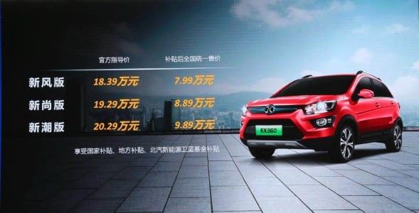 BAIC-EX360-SUV EV pricing