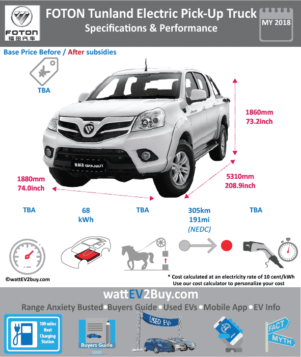 Foton Tunland ev electric pick-up specs	Yes Brand	FOTON Model	Foton Tunland Fuel_Type	BEV Chinese Name	福田汽车-拓陆者 Model Code	BJ6533EVCA1 Batch	 Battery Capacity kWh	68 Energy Density Wh/kg	 Battery Electric Range - at constant 38mph	 Battery Electric Range - at constant 60km/h	 Battery Electric Range - NEDC km	305 Battery Electric Range - EPA Mi	 Battery Electric Range - NEDC Mi	190.625 Battery Electric Range - EPA km	 Electric Top Speed - mph	 Electric Top Speed - km/h	 Acceleration 0 - 100km/h sec	 Onboard Charger kW	 LV 2 Charge Time (Hours)	 LV 3 Charge Time (min to 80%)	 Energy Consumption kWh/km	 Max Power - hp (Electric Max)	 Max Power - kW  (Electric Max)	 CHINA MSRP (before incentives & destination)	 US MSRP (before incentives & destination)	 MSRP after incentives	 Lenght (mm)	5310 Width (mm)	1880 Height (mm)	1860 Wheelbase (mm)	3105 Lenght (inc)	208.8795231 Width (inc)	73.9535788 Height (inc)	73.1668386 Wheelbase (inc)	122.141416 Curb Weight (kg)	2400