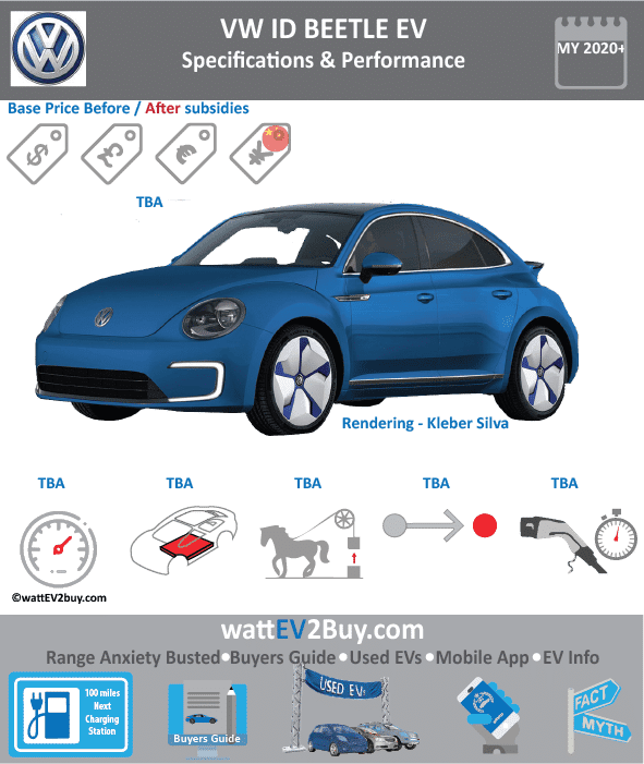 VW ID BEETLE Specs Brand VOLKSWAGEN Model ID BEETLE Fuel_Type BEV Chinese Name Model Code Batch Battery Capacity kWh Energy Density Wh/kg Battery Electric Range - at constant 38mph Battery Electric Range - at constant 60km/h Battery Electric Range - NEDC km Battery Electric Range - EPA Mi Battery Electric Range - NEDC Mi Battery Electric Range - EPA km Electric Top Speed - mph Electric Top Speed - km/h Acceleration 0 - 100km/h sec Onboard Charger kW LV 2 Charge Time (Hours) LV 3 Charge Time (min to 80%) Energy Consumption kWh/km Max Power - hp (Electric Max) Max Power - kW (Electric Max) CHINA MSRP (before incentives & destination) US MSRP (before incentives & destination) MSRP after incentives Lenght (mm) Width (mm) Height (mm) Wheelbase (mm) Lenght (inc) Width (inc) Height (inc) Wheelbase (inc) Curb Weight (kg)