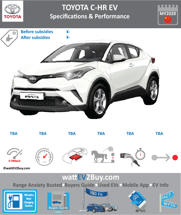 Toyota C-HR EV Specs release date	 Brand	TOYOTA Model	Toyota C-HR EV Model Year	2020 Fuel_Type	BEV Chinese Name	奕泽/C-HR EV IZOA Model Code	 Battery Capacity kWh	 Battery Nominal rating kWh	 Energy Density Wh/kg	 Battery Electric Range - at constant 38mph	 Battery Electric Range - at constant 60km/h	 WLTP g CO2/km	 CO2 Emissions (WLTP) g/km	 BEV Range - NEDC km	 BEV - NEDC Mi	 EPA BEV Range - km	 EPA BEV Range - Mi	 Extended Range - mile	 BEV Range - WLTP km	 BEV Range - WLTP Mi	 Electric Top Speed - mph	 Electric Top Speed - km/h	 Acceleration 0 - 100km/h sec	 Onboard Charger kW	 LV 2 Charge Time (Hours)	 LV 3 Charge Time (min to 80%)	 Energy Consumption kWh/km	 Max Power - hp (Electric Max)	 Max Power - kW  (Electric Max)	 CHINA MSRP (before incentives & destination)	 US MSRP (before incentives & destination)	 MSRP after incentives	 Lenght (mm)	 Width (mm)	 Height (mm)	 Wheelbase (mm)	 Lenght (inc)	 Width (inc)	 Height (inc)	 Wheelbase (inc)	 Curb Weight (kg)