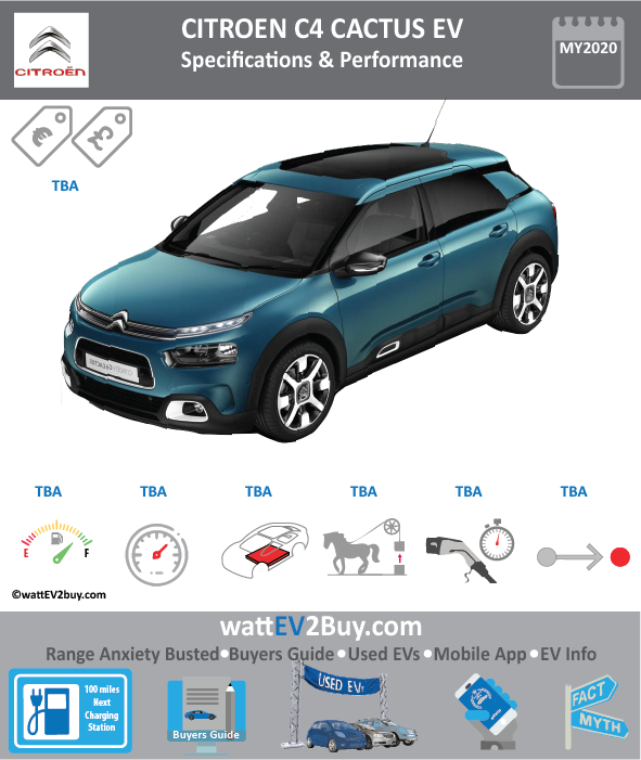 Citroen C4 Cactus EV Specs Brand CITROEN Model Citroen C4 Cactus Model Year 2020 Fuel_Type BEV Chinese Name Model Code Battery Capacity kWh Battery Nominal rating kWh Energy Density Wh/kg Battery Electric Range - at constant 38mph Battery Electric Range - at constant 60km/h WLTP g CO2/km CO2 Emissions (WLTP) g/km BEV Range - NEDC km BEV - NEDC Mi EPA BEV Range - km EPA BEV Range - Mi Extended Range - mile BEV Range - WLTP km BEV Range - WLTP Mi Electric Top Speed - mph Electric Top Speed - km/h Acceleration 0 - 100km/h sec Onboard Charger kW LV 2 Charge Time (Hours) LV 3 Charge Time (min to 80%) Energy Consumption kWh/km Max Power - hp (Electric Max) Max Power - kW (Electric Max) CHINA MSRP (before incentives & destination) US MSRP (before incentives & destination) MSRP after incentives Lenght (mm) Width (mm) Height (mm) Wheelbase (mm) Lenght (inc) Width (inc) Height (inc) Wheelbase (inc) Curb Weight (kg)