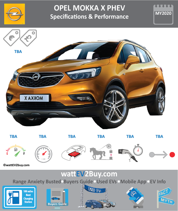 Opel Mokka X PHEV SPECS Brand OPEL Model Opel Mokka X Model Year 2020 Fuel_Type PHEV Chinese Name Model Code Battery Capacity kWh Battery Nominal rating kWh Energy Density Wh/kg Battery Electric Range - at constant 38mph Battery Electric Range - at constant 60km/h WLTP g CO2/km CO2 Emissions (WLTP) g/km BEV Range - NEDC km BEV - NEDC Mi EPA BEV Range - km EPA BEV Range - Mi Extended Range - mile BEV Range - WLTP km BEV Range - WLTP Mi Electric Top Speed - mph Electric Top Speed - km/h Acceleration 0 - 100km/h sec Onboard Charger kW LV 2 Charge Time (Hours) LV 3 Charge Time (min to 80%) Energy Consumption kWh/km Max Power - hp (Electric Max) Max Power - kW (Electric Max) CHINA MSRP (before incentives & destination) US MSRP (before incentives & destination) MSRP after incentives Lenght (mm) Width (mm) Height (mm) Wheelbase (mm) Lenght (inc) Width (inc) Height (inc) Wheelbase (inc) Curb Weight (kg)