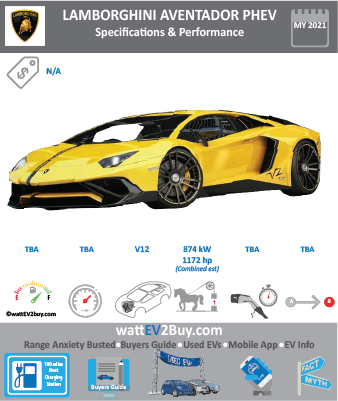Lamborghini Aventador Plug-in EV specs BrandLamborghini ModelLamborghini-aventador Model Year2021 Fuel_TypePHEV Chinese Name Model Code Battery Capacity kWh Battery Nominal rating kWh Energy Density Wh/kg Battery Electric Range - at constant 38mph Battery Electric Range - at constant 60km/h WLTP g CO2/km CO2 Emissions (WLTP) g/km BEV Range - NEDC km BEV - NEDC Mi EPA BEV Range - km EPA BEV Range - Mi Extended Range - mile BEV Range - WLTP km BEV Range - WLTP Mi Electric Top Speed - mph Electric Top Speed - km/h Acceleration 0 - 100km/h sec Onboard Charger kW LV 2 Charge Time (Hours) LV 3 Charge Time (min to 80%) Energy Consumption kWh/km Max Power - hp (Electric Max) Max Power - kW  (Electric Max) CHINA MSRP (before incentives & destination) US MSRP (before incentives & destination) MSRP after incentives Lenght (mm) Width (mm) Height (mm) Wheelbase (mm) Lenght (inc) Width (inc) Height (inc) Wheelbase (inc) Curb Weight (kg)