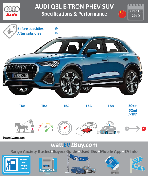 Audi Q3 e-tron PHEV Specs release date Brand Audi Model Audi Q3 e-tron PHEV Model Year 2019 Fuel_Type PHEV Chinese Name 奥迪Q3 e-tron PHEV Model Code Battery Capacity kWh Battery Nominal rating kWh Energy Density Wh/kg Battery Electric Range - at constant 38mph Battery Electric Range - at constant 60km/h WLTP g CO2/km CO2 Emissions (WLTP) g/km BEV Range - NEDC km 50 BEV - NEDC Mi 31 EPA BEV Range - km EPA BEV Range - Mi Extended Range - mile BEV Range - WLTP km BEV Range - WLTP Mi Electric Top Speed - mph Electric Top Speed - km/h Acceleration 0 - 100km/h sec Onboard Charger kW LV 2 Charge Time (Hours) LV 3 Charge Time (min to 80%) Energy Consumption kWh/km Max Power - hp (Electric Max) Max Power - kW (Electric Max) CHINA MSRP (before incentives & destination) US MSRP (before incentives & destination) MSRP after incentives Lenght (mm) Width (mm) Height (mm) Wheelbase (mm) Lenght (inc) Width (inc) Height (inc) Wheelbase (inc) Curb Weight (kg)