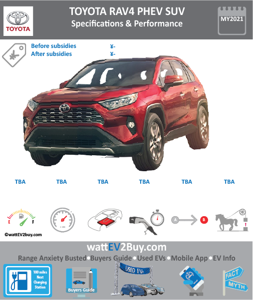 FAW Toyota RAV4 EV Plug-in hybrid specs BrandFAW Toyota ModelRAV4 PHEV Model Year2021 Fuel_TypePHEV Chinese Name Model Code Battery Capacity kWh Battery Nominal rating kWh Energy Density Wh/kg Battery Electric Range - at constant 38mph Battery Electric Range - at constant 60km/h WLTP g CO2/km CO2 Emissions (WLTP) g/km BEV Range - NEDC km BEV - NEDC Mi EPA BEV Range - km EPA BEV Range - Mi Extended Range - mile BEV Range - WLTP km BEV Range - WLTP Mi Electric Top Speed - mph Electric Top Speed - km/h Acceleration 0 - 100km/h sec Onboard Charger kW LV 2 Charge Time (Hours) LV 3 Charge Time (min to 80%) Energy Consumption kWh/km Max Power - hp (Electric Max) Max Power - kW  (Electric Max) CHINA MSRP (before incentives & destination) US MSRP (before incentives & destination) MSRP after incentives Lenght (mm) Width (mm) Height (mm) Wheelbase (mm) Lenght (inc) Width (inc) Height (inc) Wheelbase (inc) Curb Weight (kg)
