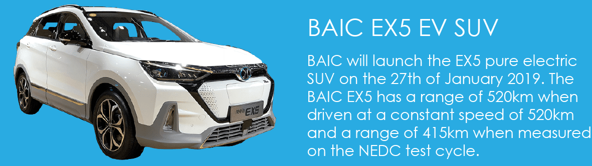 BAIC is to launch the EX5 pure electric SUV on the 27th of January 2019. The BAIC EX5 has a range of 520km when driven at a constant speed of 520km and a range of 415km when measured on the NEDC test cycle.