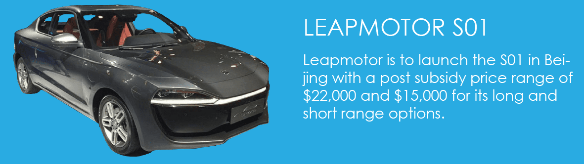 Leapmotor is to launch the S01 in Beijing with a post subsidy price range of $22,000 and $15,000 for its long and short range options.