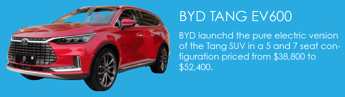 BYD launched the pure electric version of the Tang SUV in a 5 and 7 seat configuration priced from $38,800 to $52,400.