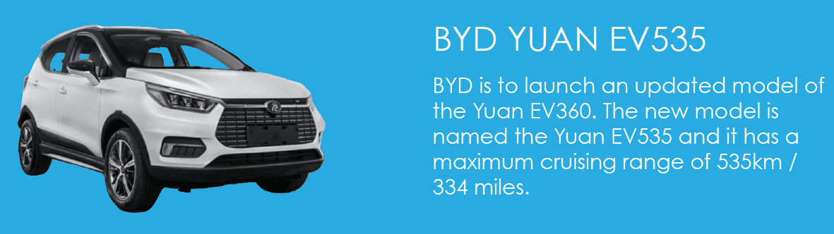 BYD is to launch an updated model of the Yuan EV360. The new model is named the Yuan EV535 and it has a maximum cruising range of 535km / 334 miles.