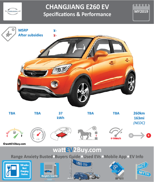 Changjiang E260 EV specs BrandChangjiang ModelChangjiang E260 Model Year2019 Fuel_TypeBEV Chinese Name小贝 E260 Model CodeFDH7000BEV01 Battery Capacity kWh37 Battery Nominal rating kWh Energy Density Wh/kg Battery Electric Range - at constant 38mph Battery Electric Range - at constant 60km/h WLTP g CO2/km CO2 Emissions (WLTP) g/km BEV Range - NEDC km260 BEV - NEDC Mi163 EPA BEV Range - km EPA BEV Range - Mi Extended Range - mile BEV Range - WLTP km BEV Range - WLTP Mi Electric Top Speed - mph Electric Top Speed - km/h Acceleration 0 - 100km/h sec Onboard Charger kW LV 2 Charge Time (Hours) LV 3 Charge Time (min to 80%) Energy Consumption kWh/km Max Power - hp (Electric Max) Max Power - kW  (Electric Max) CHINA MSRP (before incentives & destination) US MSRP (before incentives & destination) MSRP after incentives Lenght (mm) Width (mm) Height (mm) Wheelbase (mm) Lenght (inc) Width (inc) Height (inc) Wheelbase (inc) Curb Weight (kg)1290