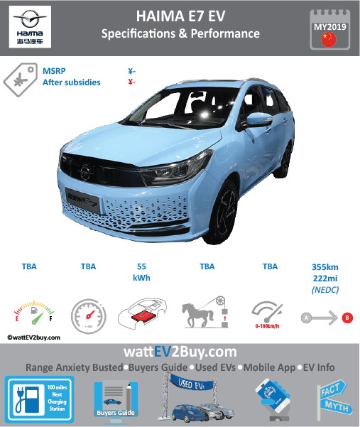 Haima E7 EV specs Brand Haima Model Haima E7 Model Year 2019 Fuel_Type BEV Chinese Name 海马福美来E7 Model Code HMC6481MM0BEV Battery Capacity kWh 54.7 Battery Nominal rating kWh Energy Density Wh/kg Battery Electric Range - at constant 38mph 221.875 Battery Electric Range - at constant 60km/h 355 WLTP g CO2/km CO2 Emissions (WLTP) g/km BEV Range - NEDC km 355 BEV - NEDC Mi 222 EPA BEV Range - km EPA BEV Range - Mi Extended Range - mile BEV Range - WLTP km BEV Range - WLTP Mi Electric Top Speed - mph Electric Top Speed - km/h Acceleration 0 - 100km/h sec Onboard Charger kW LV 2 Charge Time (Hours) LV 3 Charge Time (min to 80%) 30 Energy Consumption kWh/km Max Power - hp (Electric Max) 174.3326 Max Power - kW (Electric Max) 130 CHINA MSRP (before incentives & destination) US MSRP (before incentives & destination) MSRP after incentives Lenght (mm) Width (mm) Height (mm) Wheelbase (mm) Lenght (inc) Width (inc) Height (inc) Wheelbase (inc) Curb Weight (kg) 1885