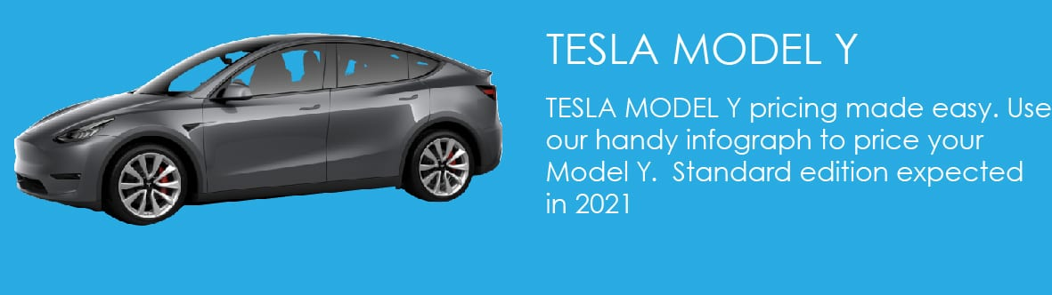 TESLA MODEL Y pricing made easy. Use our handy infograph to price your Model Y. Standard edition expected in 2021